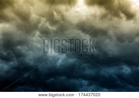 Toned Photo of the Dark and Dramatic Storm Clouds