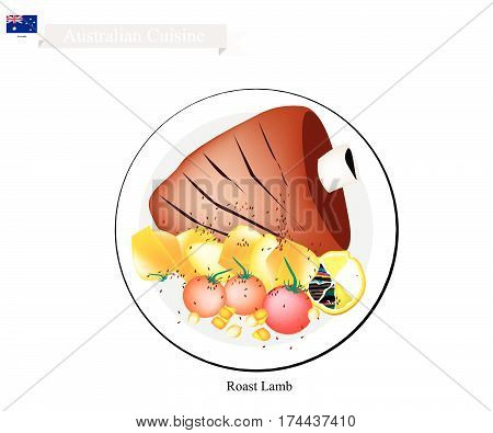 Australian Cuisine Illustration of Traditional Roasted Lamb Legs with Herb. A Popular Dish of Australia.