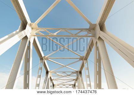 Railway Bridge On The Blue Sky In Spring.