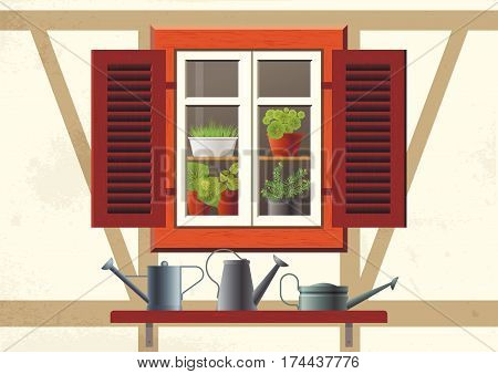 Vector flat illustration about spring, home garden, ecology, cosiness. Half-timbered house and old window with wooden shutters and flowers in pots inside. Shelf with metal watering cans outside.