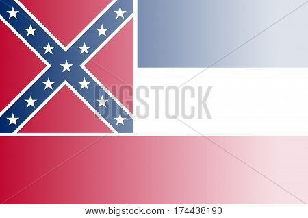 The flag of the USA state of Mississippi with fade