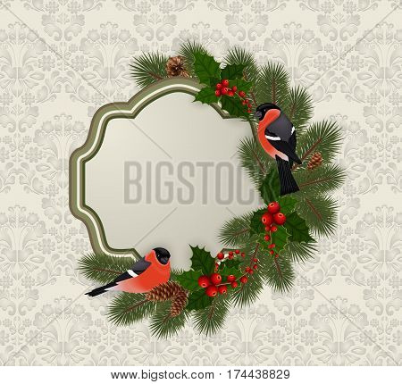 Illustration of Christmas or New Year greeting card template with bullfinch birds fir tree holly berry branches cones and ornamental background