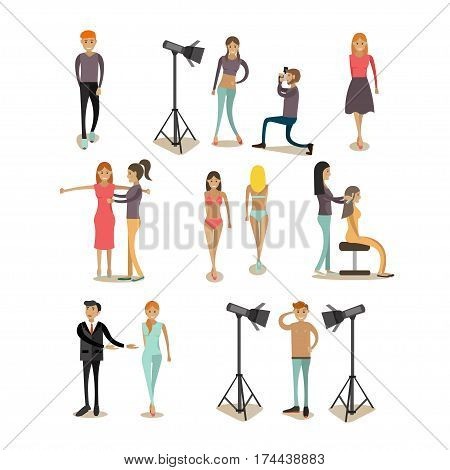 Vector icons set of fashion model profession people isolated on white background. Top models female and male, photographers, hairdresser flat style design elements.