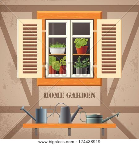 Vector square flat illustration about spring, home garden, ecology, cosiness. Half-timbered house and old wooden window with shutters and flowers in pots inside. Shelf with metal watering cans outside.