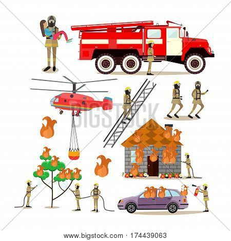 Vector icons set of firefighter profession people isolated on white background. Firefighting truck, helicopter, firemen saving people, forest, transport and house from fire flat style design elements.