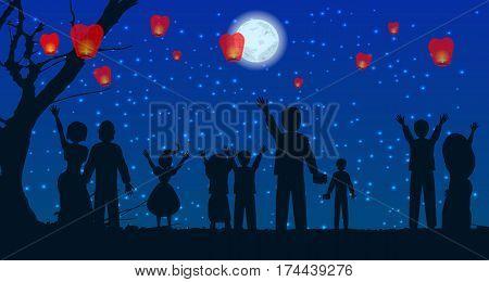 Let People Silhouette Sky Lanterns