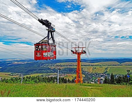 Oberwiesenthal, Germany - July 11, 2015: The Fichtelberg Cable Car (in German: Fichtelberg-Schwebebahn) is the oldest cable car in Germany.