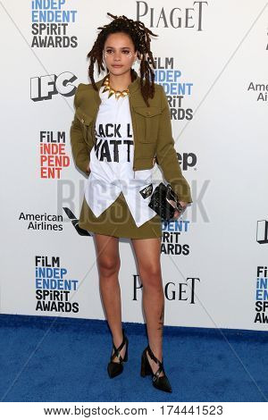 LOS ANGELES - FEB 25:  Sasha Lane at the 32nd Annual Film Independent Spirit Awards at Beach on February 25, 2017 in Santa Monica, CA