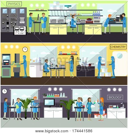 Vector set of banners, posters with scientific laboratory interiors and biologists, chemists, physicists carrying out experiments. Scientific research laboratory concept design elements in flat style.