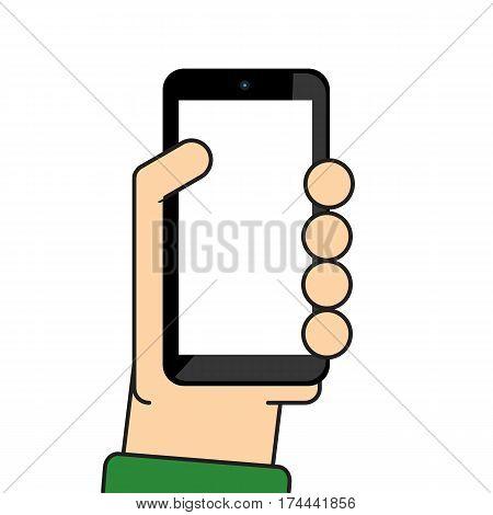 Hand holding mobile vector cartoon design .