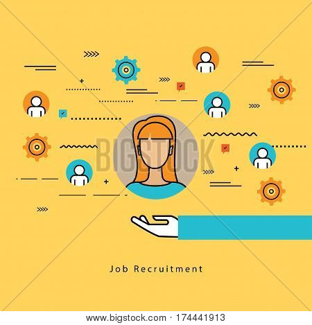 Line flat vector business design for job candidate evaluation, interviewing, assessment, recruiting. Resources and corporate management, hiring, employment, freelance, jobs,career, business concept