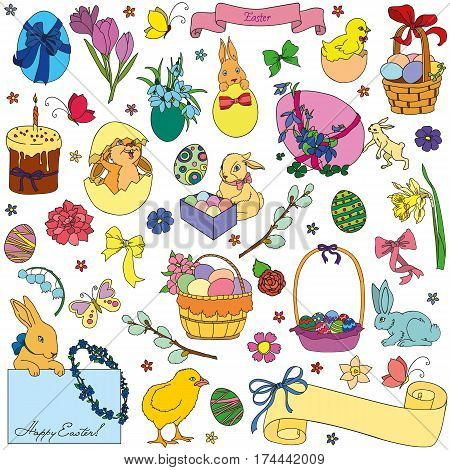 Easter vector set of symbols - eggs bunny willow twigs baskets candles egg decorating. Vector drawing collection isolated on white background.