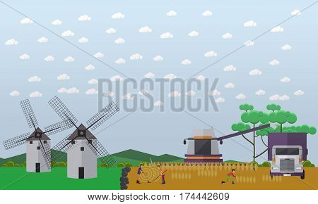 Vector illustration of people and agricultural machinery working on field. Two mills, combine harvester, truck, round bales of hay. Wheat harvesting concept design element in flat style