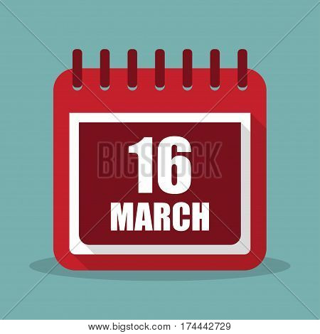 Calendar with 16 march in a flat design. Vector illustration