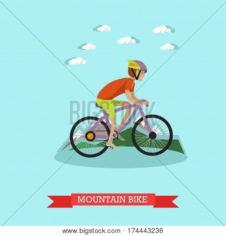 Vector illustration of boy riding mountain bike. Sport all terrain bicycle concept design element in flat style.