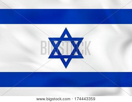 Israel Waving Flag. Israel National Flag Background Texture.