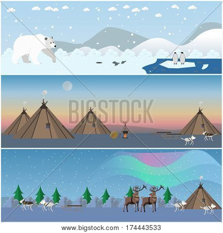 Vector set of wild north landscape posters, banners. Northern lights, arctic animals and eskimo people houses flat style design elements.