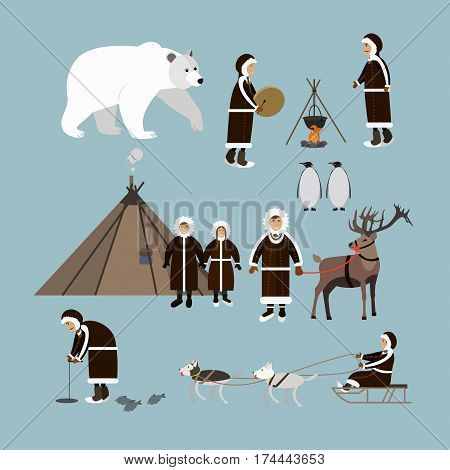 Vector set of wild north arctic people and animals icons isolated, flat style design elements. Eskimo characters fishing, cooking on the open fire, playing drum and dancing.