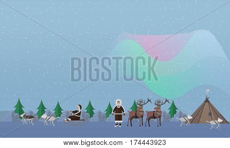 Northern lights concept vector illustration. Arctic landscape with aurora borealis, eskimo people in traditional clothing and arctic animals, flat style design elements.