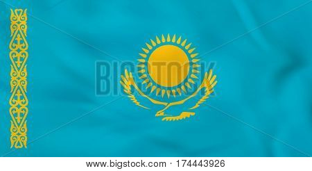Kazakhstan Waving Flag. Kazakhstan National Flag Background Texture.