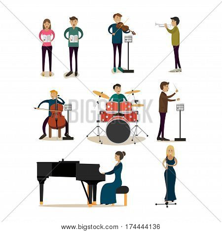 Vector icons set of symphony orchestra people isolated on white background. Singers, conductor, violinist, bassist, trumpeter, pianist, drummer flat style design elements.