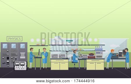 Physics concept vector illustration in flat style. laboratory interior, physicists carrying out experiments using lab glassware and equipment.