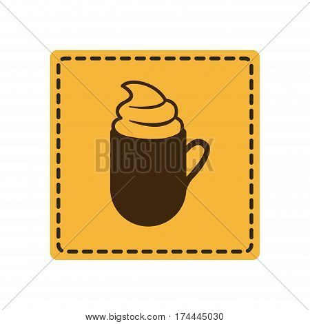 yellow emblem cuppa coffee with cream icon, vector illustraction design