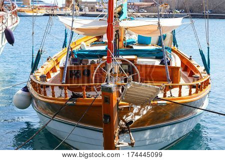 old wooden rudder in a sailboat details