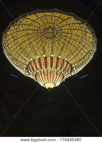Crystal chandelier on a dark background