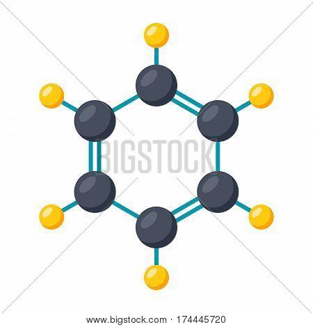Benzene molecular model, vector illustration on white background