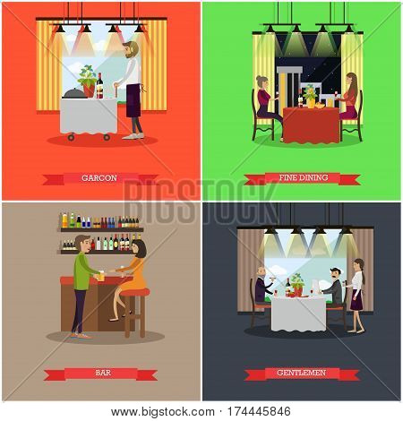 Vector set of pub and restaurant concept posters. Garcon, Fine dining, Bar and Gentlemen flat style design elements.