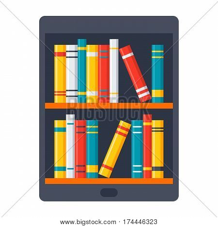eBook icon with tablet and bookshelves in flat style
