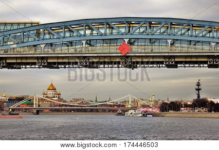MOSCOW - FEBRUARY 28, 2017: Moscow city panorama, famous landmarks - Christ Redeemer Cathedral, Monument to Peter the Great, architect Zurab Tseretely.