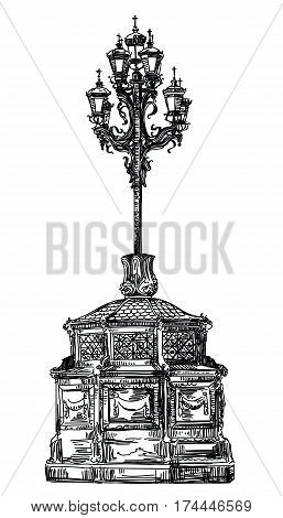 Ancient lantern near Cathedral of Christ the Savior in Moscow vector hand drawing llustration