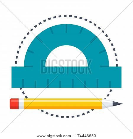 Geometry concept with protractor, pencil and circle