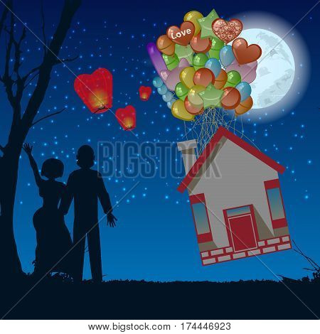 Couple Night House Fly The Balloons Illustration