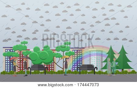 Wet, rainy weather concept vector illustration. People walking in the rain in raincoats and with umbrellas, rainbow. Flat style design.