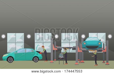Car service, auto repair concept vector illustration. Workers repairing and changing auto spare parts design elements in flat style.