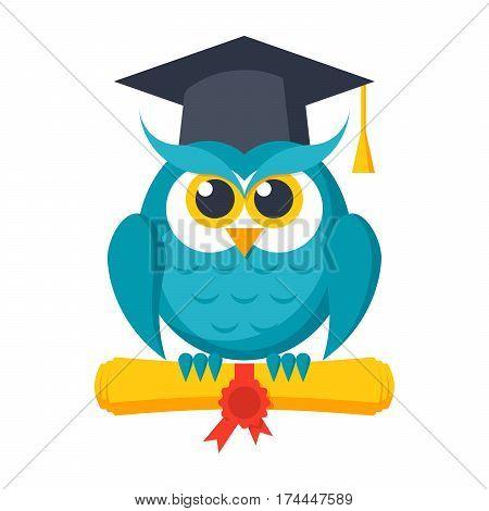 Wisdom concept, owl with diploma and graduation cap