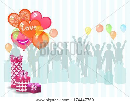 A Gift From The Men With Balloons. Illustration
