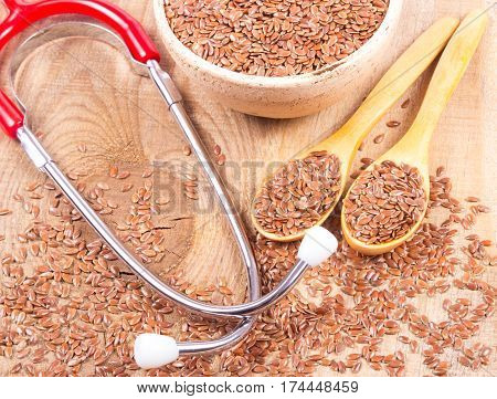 Flaxseed And Stethoscope - The Concept Of Medicinal Properties.