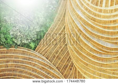 Presentation background handicraft of nature is rattan with leave and spot lighting concept flora decorate design.