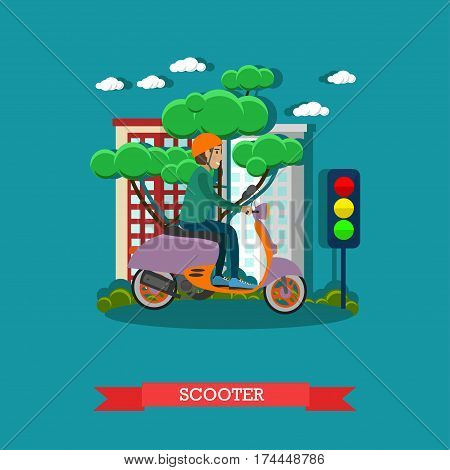 Vector illustration of young man riding scooter. Motorcycle, motor scooter concept design element in flat style.