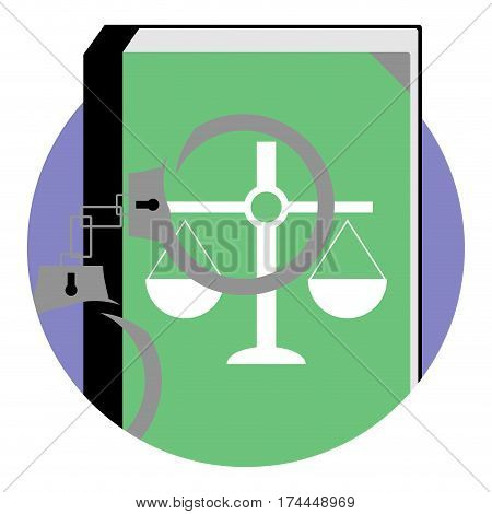 Justice and punishment icon. Constitution and handcuffs emblem app icon trial and verdict vector illustration