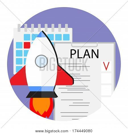 Plans to launch new start up vector. Organization and check project start-up illustration