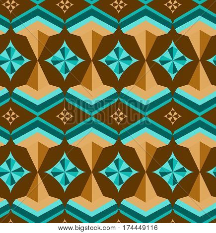 Seamlessarabic geometric 3d abstract turquoise brawn pattern.Creative geometric ornament on color background. For design wallpaper cover invitation fabric. Vector background.