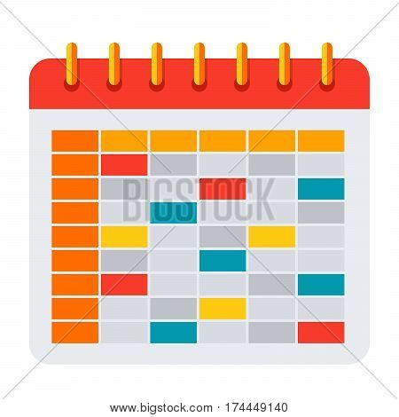 School timetable for students or pupils, vector icon in flat style