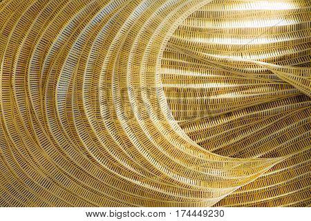 Rattan handicraft of art decorate pattern design background yellow soft tone.