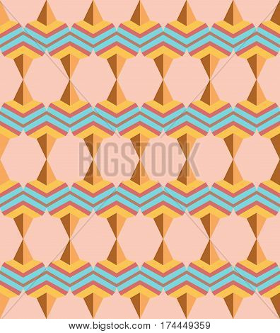 Seamless arabic geometric 3d abstract brawn blue pattern.Creative geometric ornament on color background. For design wallpaper cover invitation fabric. Vector background.