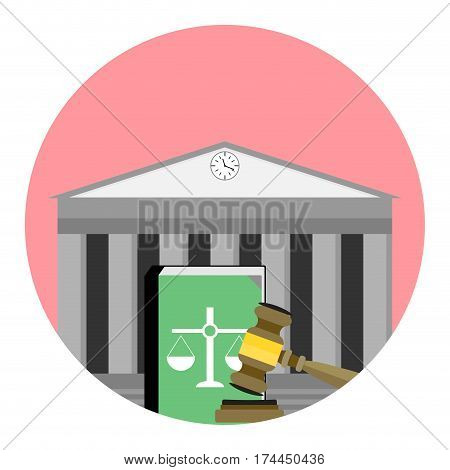 Jurisdiction institute icon. Legislation institution justice and punishment vector illustration